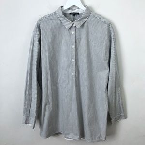 Lafayette 148 New York Stripe Button Popover Shirt
